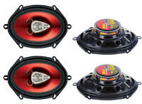"4) New BOSS CH5730 5x7"" 600W 3-Way Car Coaxial Audio Stereo Speakers Red 2 PAIRS"