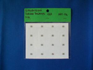 """16 targhe adesive repro Politoys bianche 1/43 """"MI 157 """" stampa di alta qualità"""