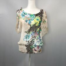 Charlotte Russe Women Short Sleeve Blouse Top Casual Shirt Size Small Floral D91