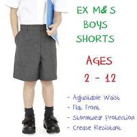 EX M&S Boys School Shorts Age 2 3 4 5 6 7 8 9 10 11 12 Grey Adjustable Waist