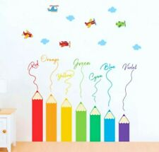 Color Pencil Wall Decal 3D Stickers Childs Bedroom Nursery Color Names Airplanes