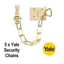 5 x YALE SECURITY DOOR CHAIN IN POLISHED BRASS FINISH - B-WS6-20-EB - NEW