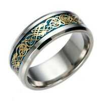 8mm Blue Gold Stainless Steel Mens Womens Celtic Band Silver Wedding Ring K - Z3