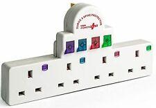 3x 4 Modo Banda Surge e Spike protetti 13Amp commutata Socket Extension lead