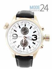 Herrenuhr Jay Baxter Lederarmband Watch Herren Uhr Silber Schwarz Chrono Look
