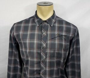 Mens Icebreaker Merino 100% wool gray plaid button-down shirt Medium