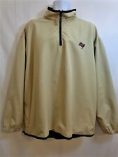 TAMPA BAY BUCCANEERS Beige Pullover 1/4 Zip Jacket REEBOK GOLF Mens LARGE L NWOT