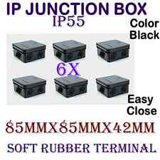 6X CCTV Outdoor BLACK IP Junction IP55 Terminal Box For Cameras Connection UK
