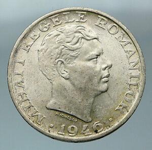 1946 ROMANIA King Michael I Shield Genuine Silver 25000 Lei Romanian Coin i84417