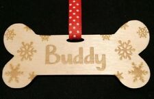 Personalised Wooden Dog Bone Christmas Tree Hanging Decoration Pet Plaque Signs