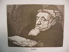 "Art print Charles Bragg artist black Lithograph ""judge"" Duotone Signed"