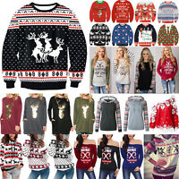 Womens Mens Sweater Ugly Christmas Xmas Sweatshirt Tops Pullover Shirt Blouse AU