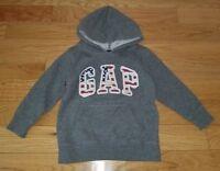 Boys BABY GAP Outlet Gray Hoodie Sweatshirt Sz 4T Red White Blue Flag Patriotic