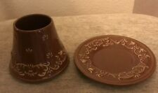 Beautiful Yankee Candle Chocolate Colored Tulip Med Jar Shade Topper/Plate Set