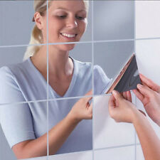 Mirror Wall Stickers Art Decal Mural Removable Home Bathroom Self-adhesive Tiles