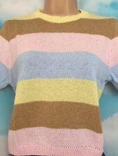 New L 16-18 NEW LOOK Rainbow Pastel Pink Mix Stripe Short Sleeve Jumper Top