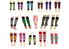 GIRLS LEG WARMER 80'S TEEN DANCE WEAR PLAIN STRIPED LEGWARMER FANCY DRESS TUTU