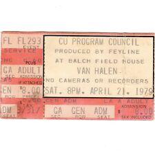 Van Halen Concert Ticket Stub Boulder Colorado 4/21/79 Cu Balch Field House Rare