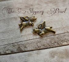 Flying Pig Charms Antiqued Bronze Pig with Wings When Pigs Fly 25 pieces