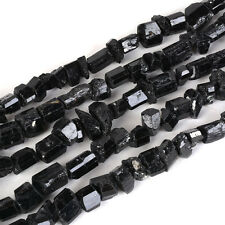 0142 faceted black tourmaline raw nugget chips loose gemstone beads 16""