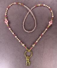 3D PINK PIG LANYARD NECKLACE ID Badge Holder Swivel Clip Key Ring Beads Hog Gold