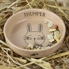 Personalised Cute Rabbit Small Ceramic Brown Pet Bowl