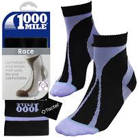 1000 Mile Womens Black Training Running Gym Workout Exercise Race Socks, 2 Sizes