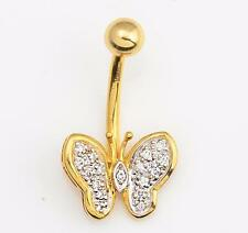 NEW Solid 14KT Yellow Gold Navel Belly Ring w/ PAVE DIAMOND Butterfly .11 cts.