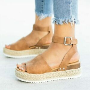 Womens Wedge Platform Ankle Strap Sandals Comfort Walk Travel Beach Casual Shoes