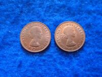 2 X QUEEN ELIZABETH II 1967 HALF PENNY COINS