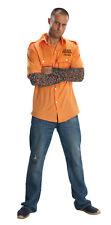 Men's Orange Prisoner Shirt & Tattoo Sleeves Combo Kit Convict Adult XLarge