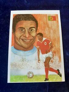 """Eusébio card sticker 1985 """"Ases Mundiais do Desporto"""" Portuguese collection"""