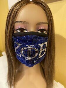 Zeta Phi Beta Sorority Rhinestone  Bling Face Mask with Filter Blue