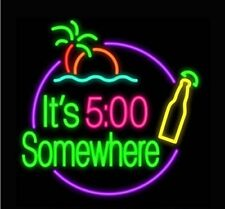 """New it's 500 O'Clock Somewhere Palm Tree Bottle Beer Neon Light Sign 24""""x20"""""""