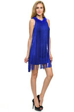 Sexy Jrs Fringe Royal Blue or Red Lined Party Mini Dress Faux Fur Collar S, M, L
