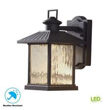 Hampton Bay Lumsden 7 in. Black Outdoor LED Wall Lantern Sconce with Photocell