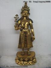 100% Pure Bronze 24K Gold Gild inlay turquoise gem Padmapani Kwan Yin Buddha