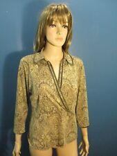 XL brown PAISLEY PRINT FAUX WRAP VELVET HEMMED blouse by NINE WEST