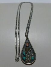 "NAVAJO STERLING SILVER CORAL & TURQUOISE NECKLACE PENDANT SET SIGNED "" B "" OLD"