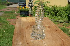 Vintage Deco Heavy Glass Perfume Bottle W/ Feather Design Stopper