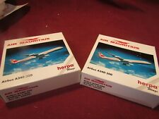 TWO HERPA WINGS AIR MAURITIUS AIRLINES AIRBUS A340-300 PLANE 1:500 SCALE #504591
