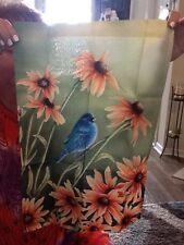 New listing Bluebird / Bluejay and Daisy Flowers Screen Printed Garden Flag