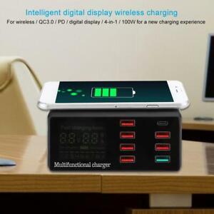 8 Ports Smart USB Digital Display Charging Dock Station Qi Wireless Fast Charger