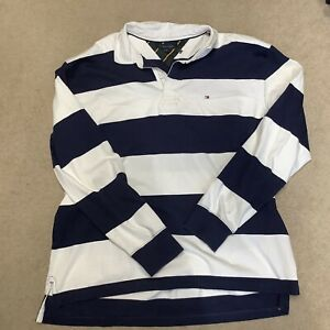 tommy hilfiger Long Sleeve Polo Classic Style Rugby Shirt Blue White Striped 3XL