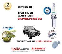 FOR SUZUKI VITARA 1.6 1991-1993 OIL AIR 2 FILTER SET + SPARK PLUGS SERVICE KIT
