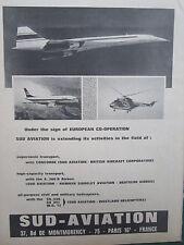 5/1969 PUB SUD AVIATION CONCORDE AIRBUS HELICOPTERE PUMA SA.330 ORIGINAL AD