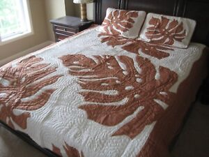 """102x100"""" Hawaiian Quilt Comforter w 2 shams hand quilted appliqued 100% cotton"""