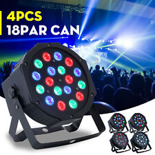 4PCS 18x LED PAR CAN Stage DMX Lighting RGB DJ Disco Wedding Party Uplighting