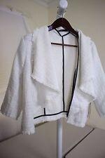 Dear Creatures 100% Polyester White W/ Black Trim Open Jacket Size - XL