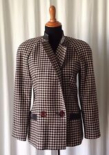 Savatore Ferragamo pied de poule and leather women jacket size 42